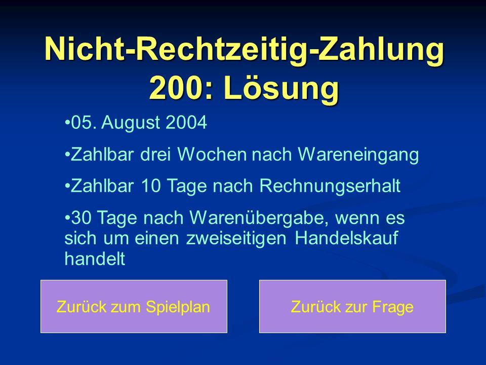 Nicht-Rechtzeitig-Zahlung 200: Lösung