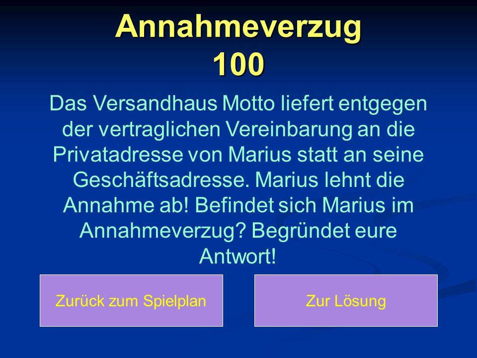 Annahmeverzug 100