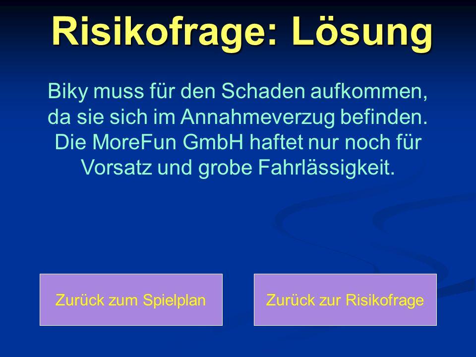 Zurück zur Risikofrage