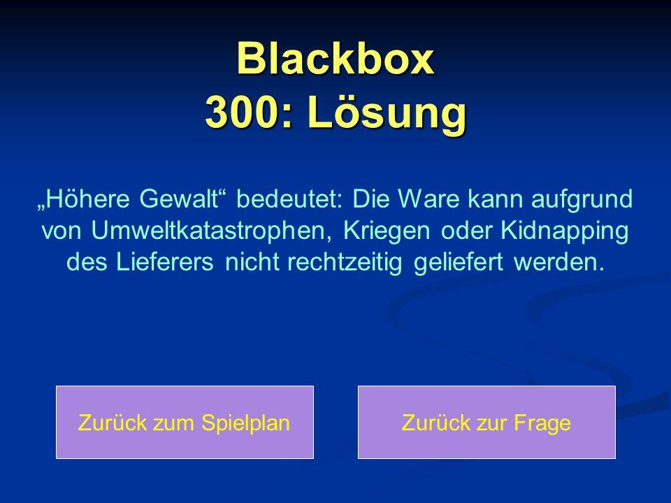 Blackbox 300: Lösung