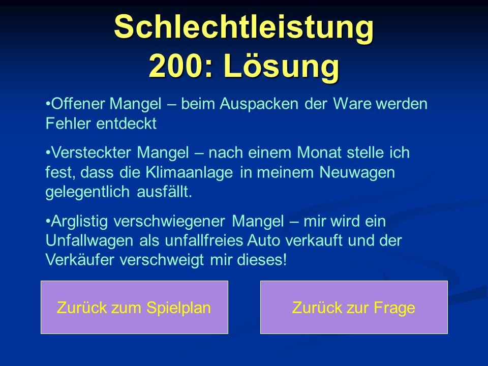 Schlechtleistung 200: Lösung