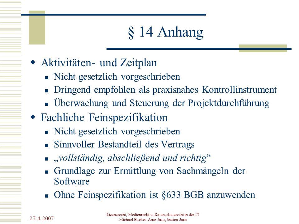 § 14 Anhang Aktivitäten- und Zeitplan Fachliche Feinspezifikation