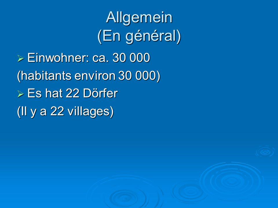 Allgemein (En général)