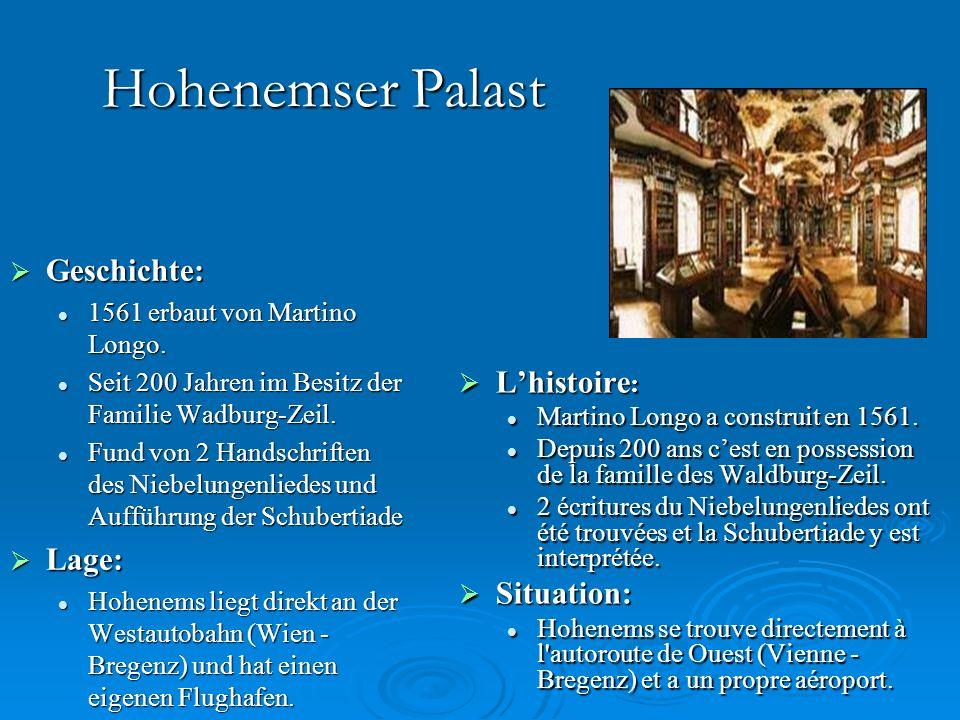 Hohenemser Palast Geschichte: L'histoire: Lage: Situation: