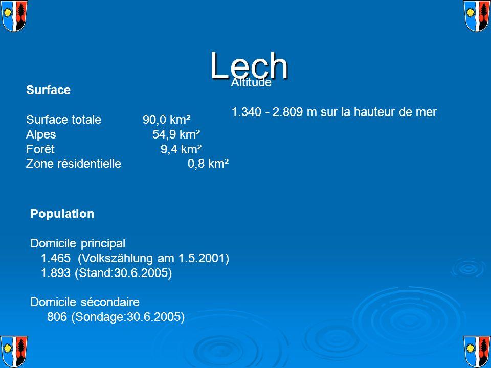 Lech Altitude 1.340 - 2.809 m sur la hauteur de mer Surface