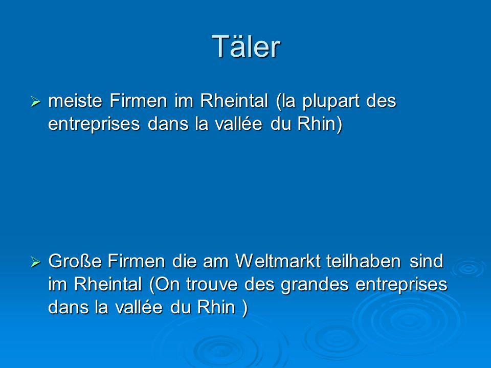 Täler meiste Firmen im Rheintal (la plupart des entreprises dans la vallée du Rhin)