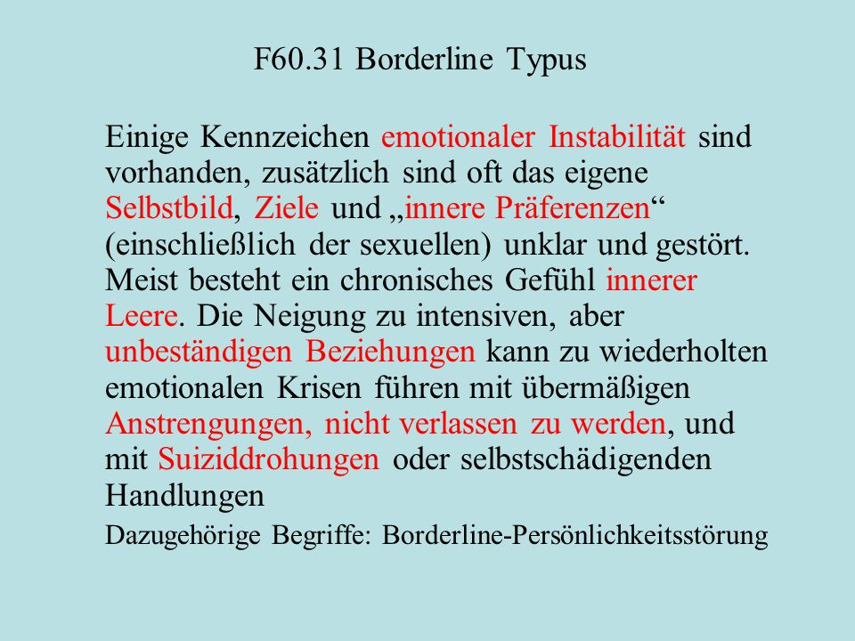 F60.31 Borderline Typus