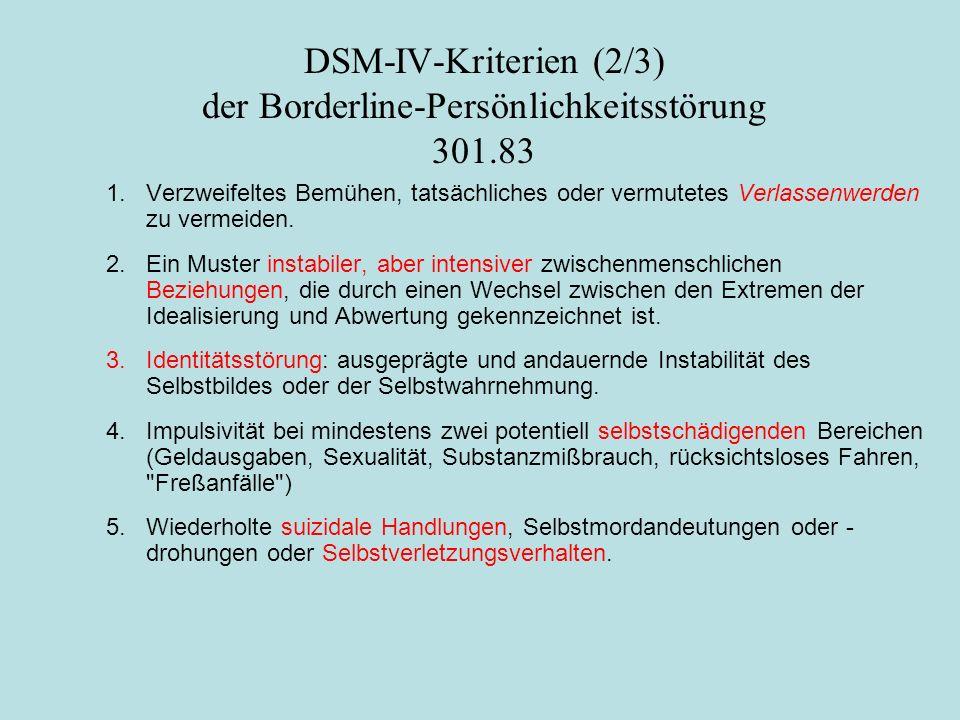 DSM-IV-Kriterien (2/3) der Borderline-Persönlichkeitsstörung 301.83