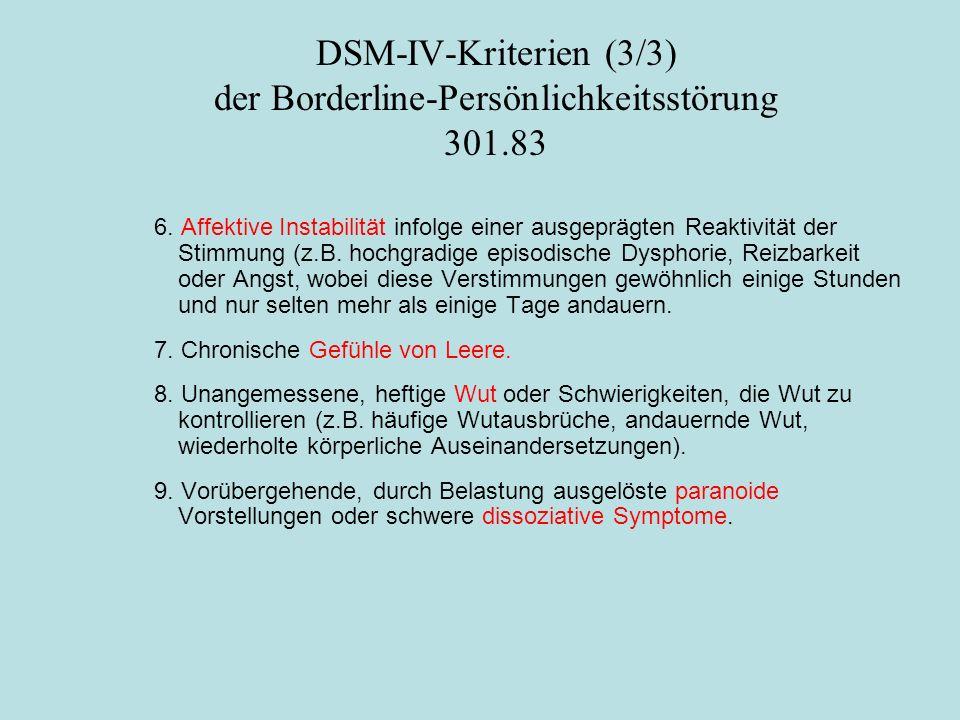 DSM-IV-Kriterien (3/3) der Borderline-Persönlichkeitsstörung 301.83