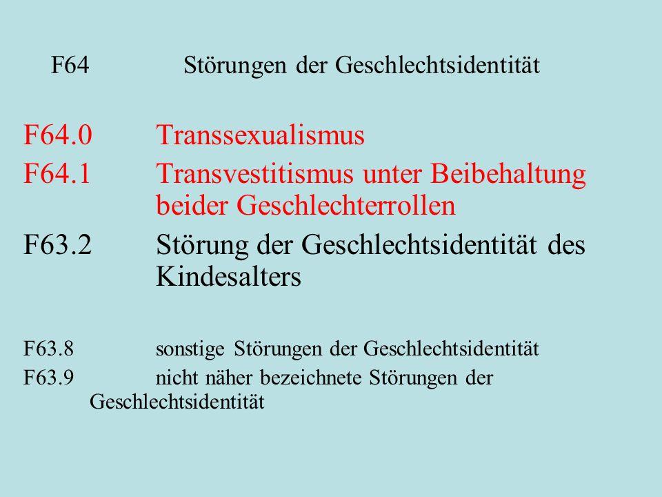 F64 Störungen der Geschlechtsidentität