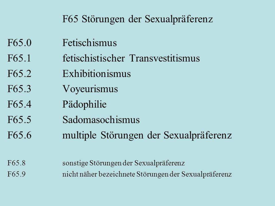 F65 Störungen der Sexualpräferenz