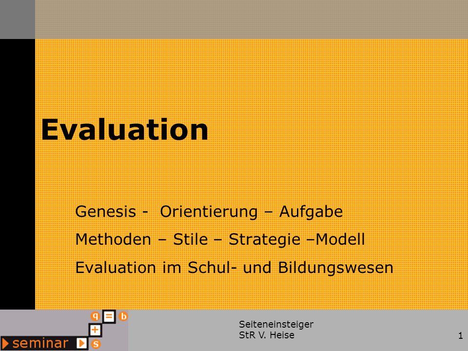 Evaluation Genesis - Orientierung – Aufgabe