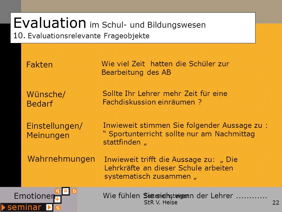 Evaluation im Schul- und Bildungswesen 10.