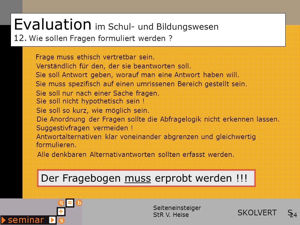 Evaluation im Schul- und Bildungswesen 12.