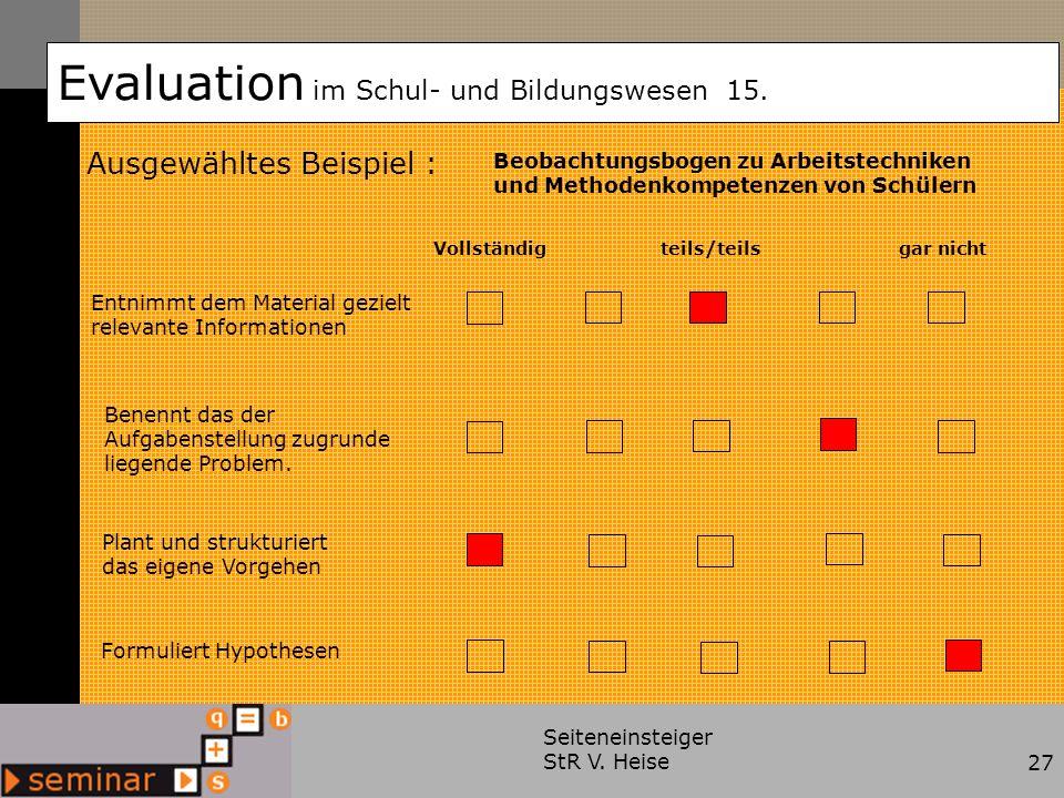 Evaluation im Schul- und Bildungswesen 15.