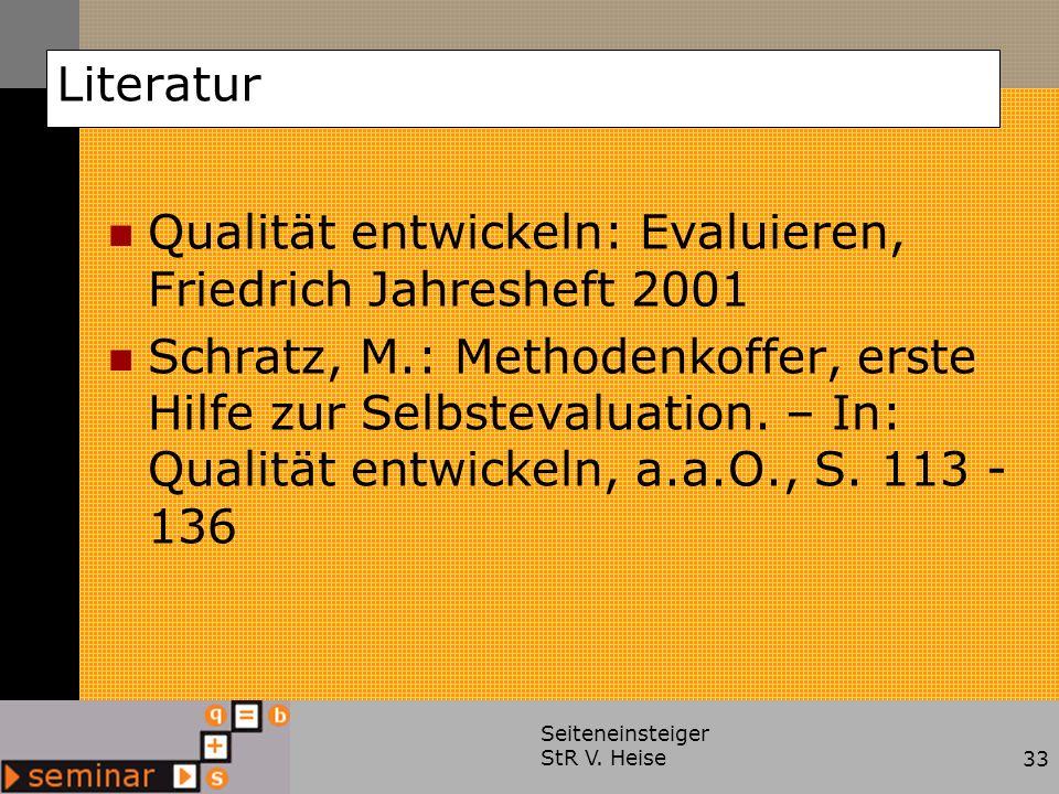 Qualität entwickeln: Evaluieren, Friedrich Jahresheft 2001