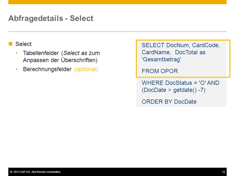 Abfragedetails - Select