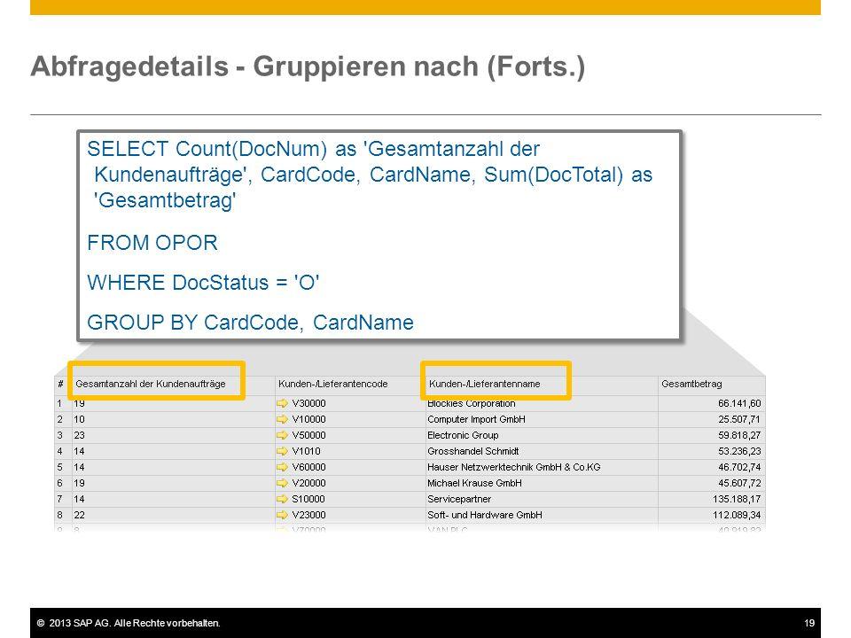 Abfragedetails - Gruppieren nach (Forts.)