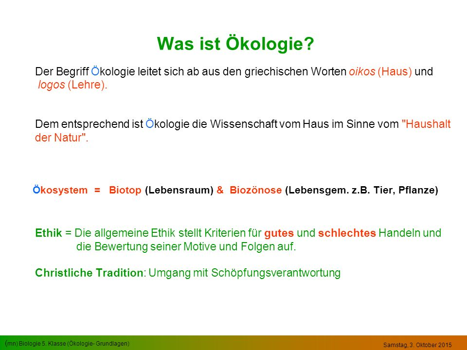 Was ist Ökologie logos (Lehre).