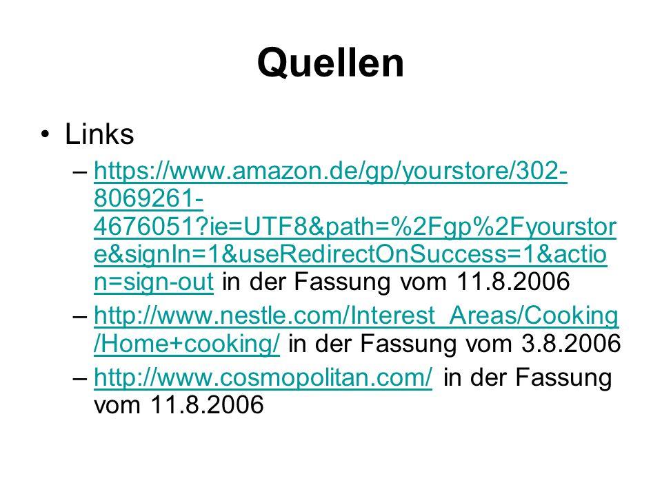 Quellen Links.