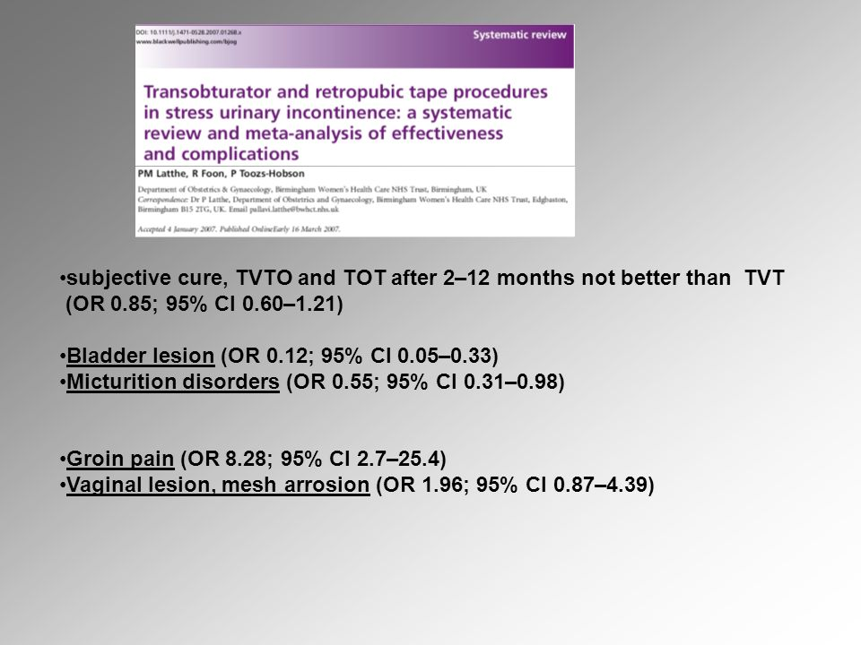 subjective cure, TVTO and TOT after 2–12 months not better than TVT