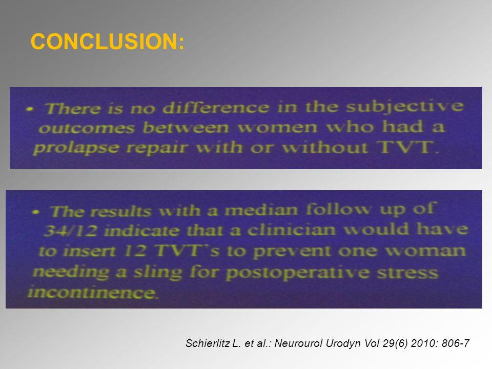CONCLUSION: Schierlitz L. et al.: Neurourol Urodyn Vol 29(6) 2010: 806-7