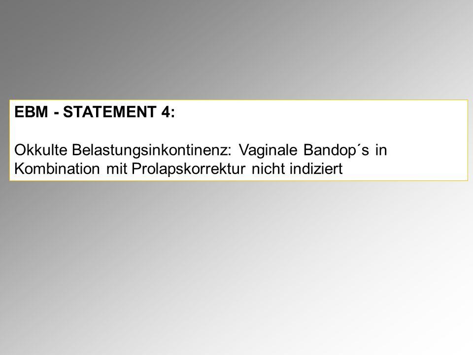 EBM - STATEMENT 4: Okkulte Belastungsinkontinenz: Vaginale Bandop´s in Kombination mit Prolapskorrektur nicht indiziert.