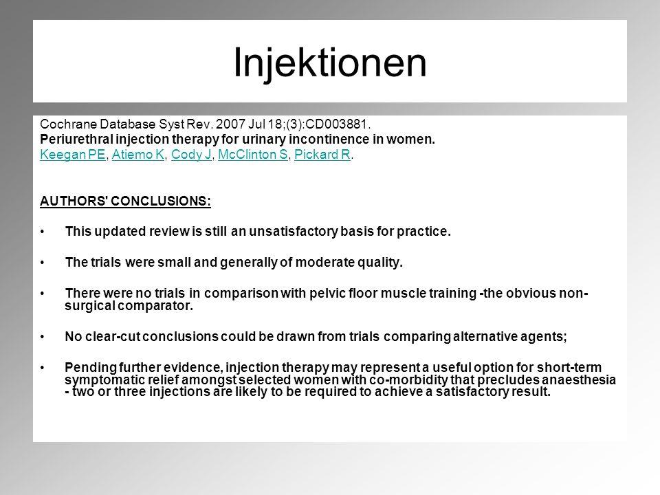 Injektionen Cochrane Database Syst Rev. 2007 Jul 18;(3):CD003881.