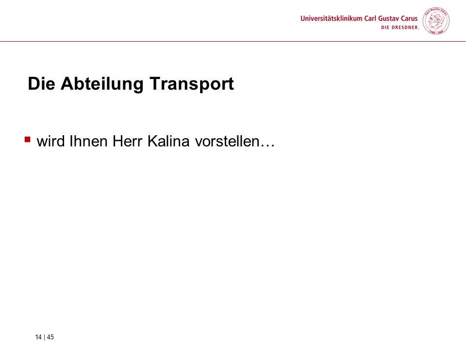 Die Abteilung Transport