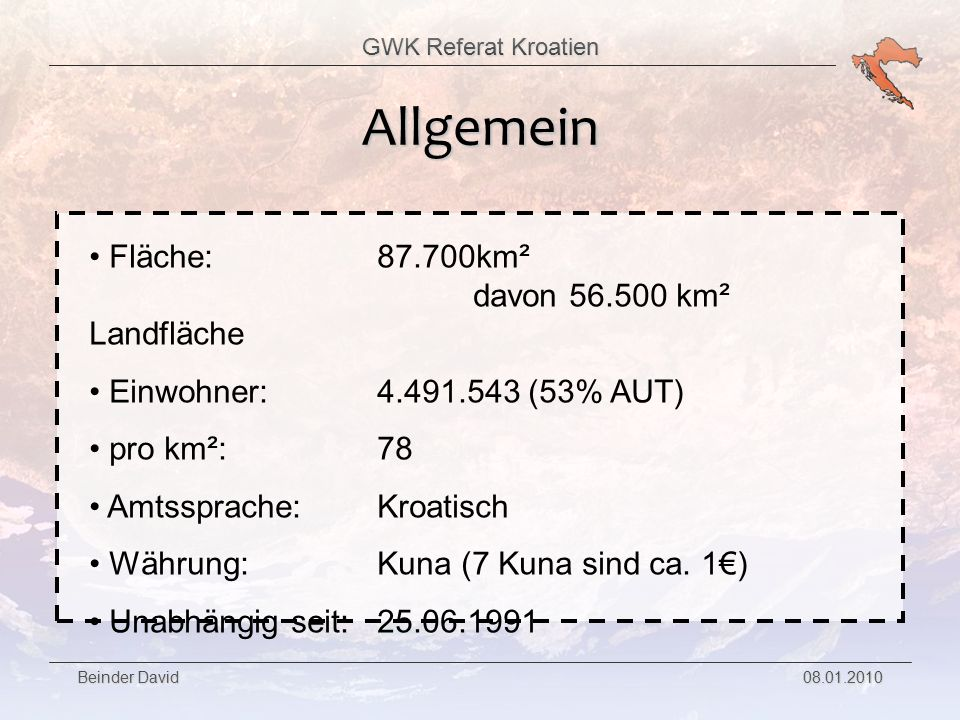Allgemein Fläche: 87.700km² davon 56.500 km² Landfläche