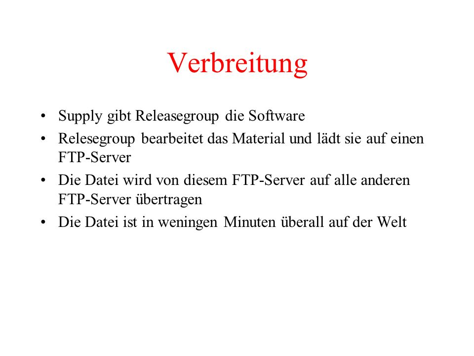 Verbreitung Supply gibt Releasegroup die Software
