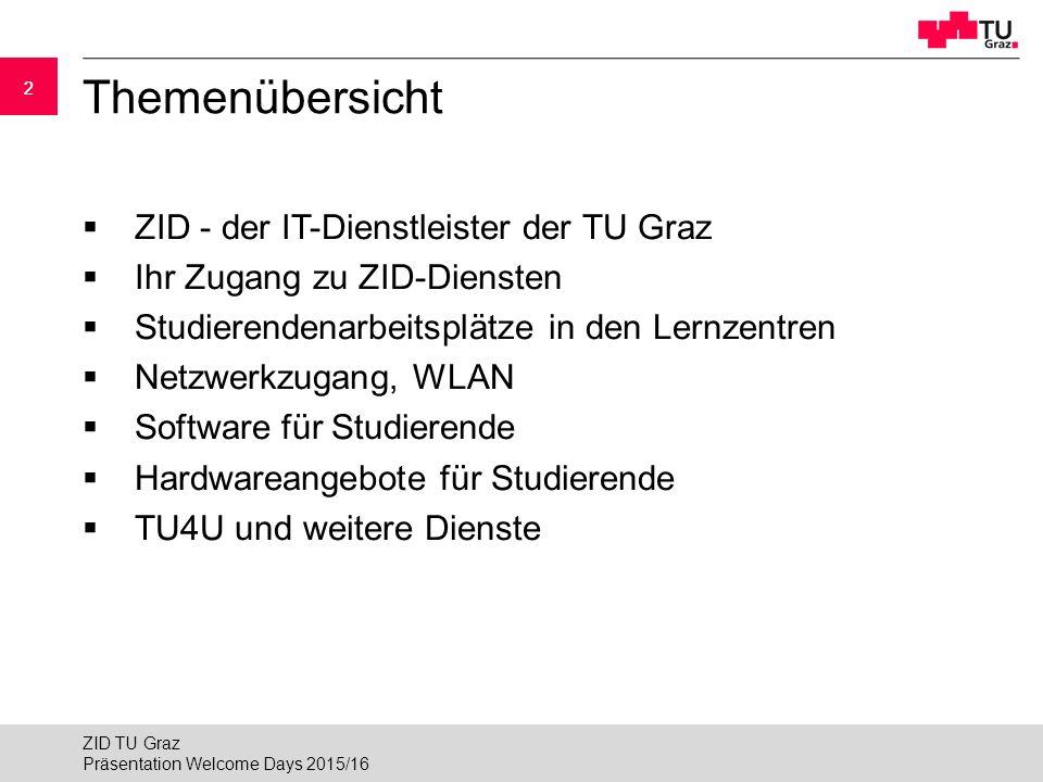 Themenübersicht ZID - der IT-Dienstleister der TU Graz