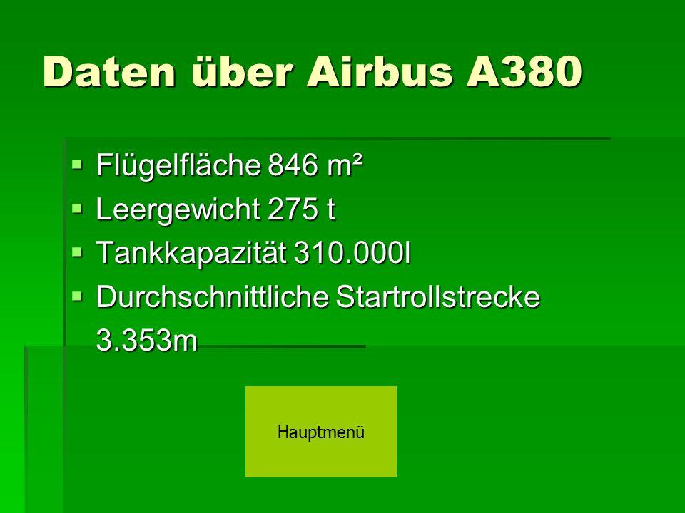 Daten über Airbus A380 Flügelfläche 846 m² Leergewicht 275 t