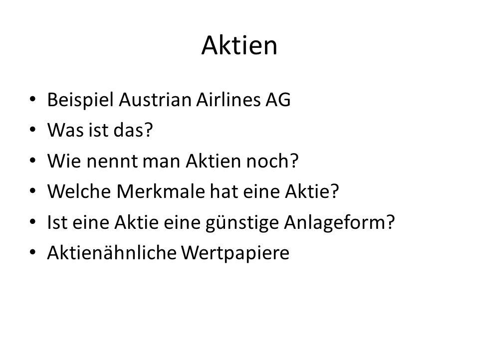 Aktien Beispiel Austrian Airlines AG Was ist das