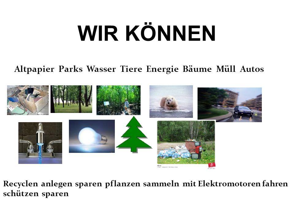 WIR KÖNNEN Altpapier Parks Wasser Tiere Energie Bäume Müll Autos