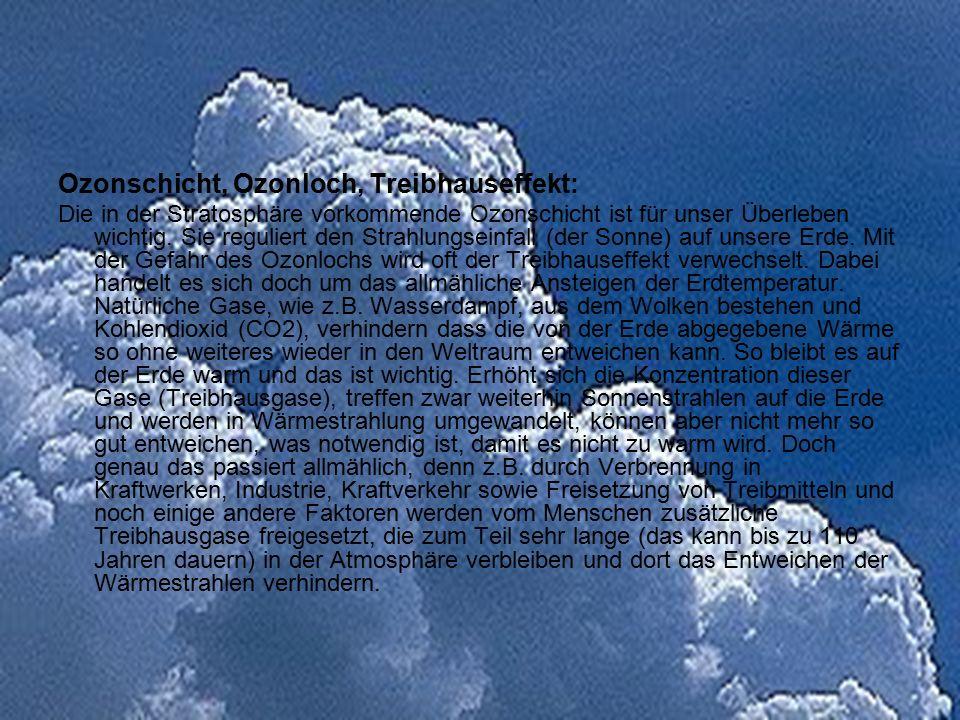 Ozonschicht, Ozonloch, Treibhauseffekt: