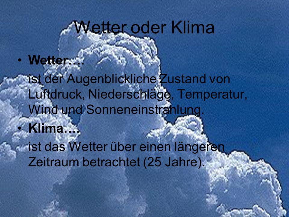Wetter oder Klima Wetter….