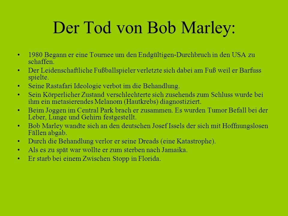 Der Tod von Bob Marley: 1980 Begann er eine Tournee um den Endgültigen-Durchbruch in den USA zu schaffen.