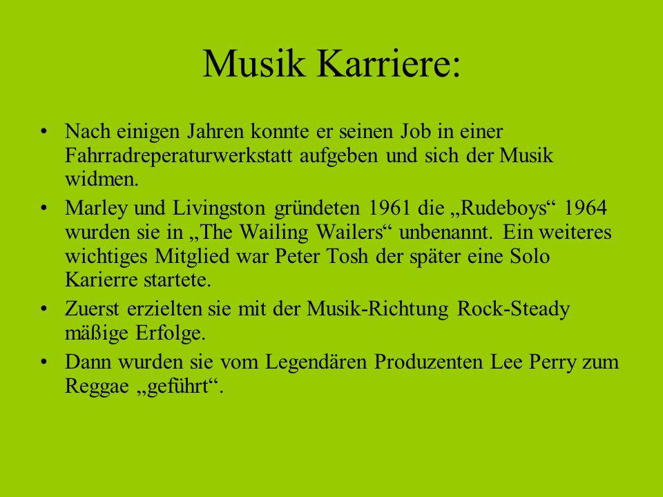Musik Karriere: Nach einigen Jahren konnte er seinen Job in einer Fahrradreperaturwerkstatt aufgeben und sich der Musik widmen.