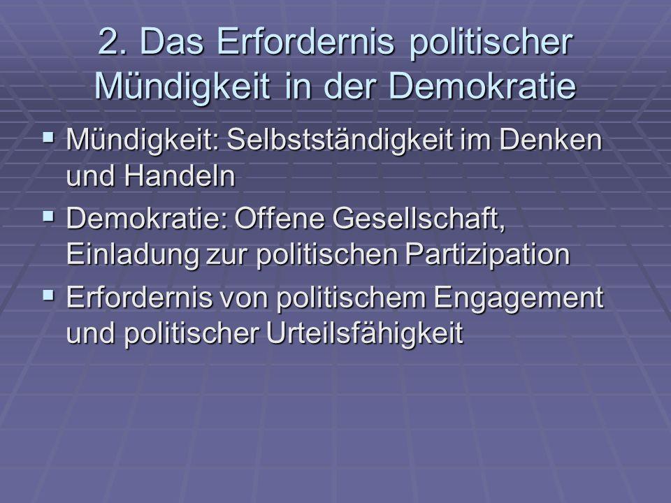 2. Das Erfordernis politischer Mündigkeit in der Demokratie