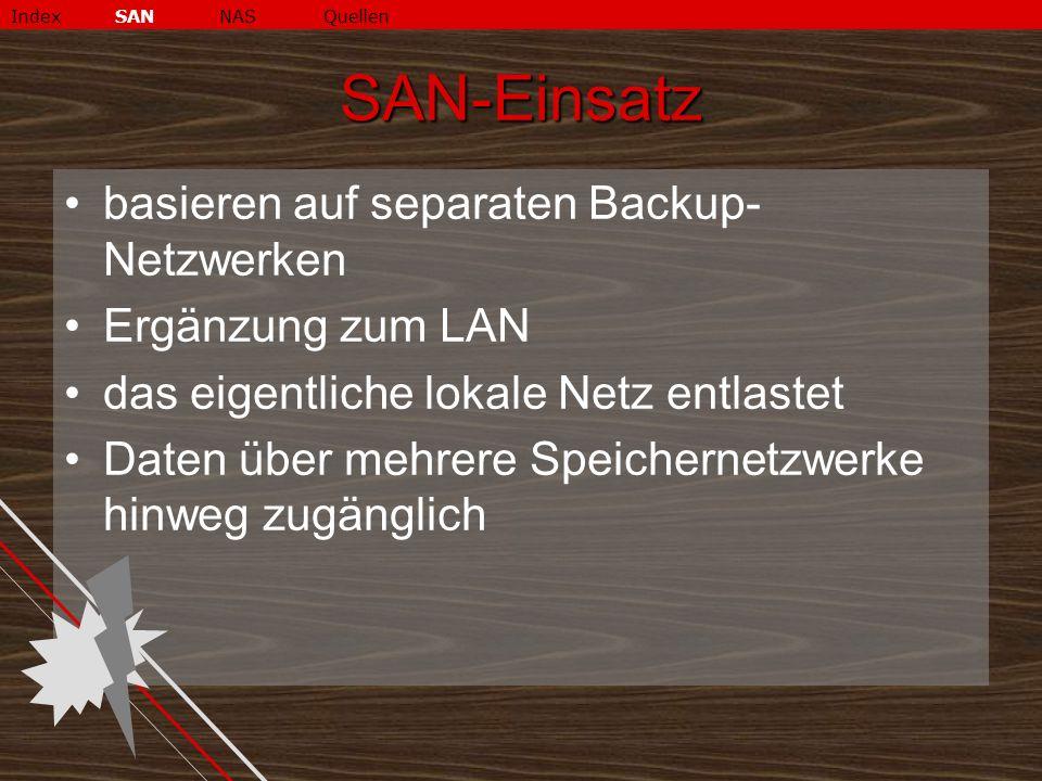SAN-Einsatz basieren auf separaten Backup-Netzwerken Ergänzung zum LAN