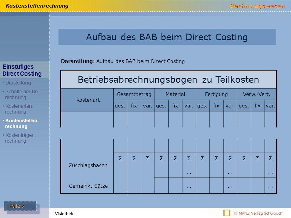 ü Aufbau des BAB beim Direct Costing