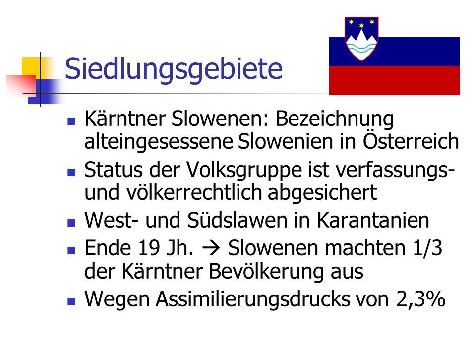 Siedlungsgebiete Kärntner Slowenen: Bezeichnung alteingesessene Slowenien in Österreich.