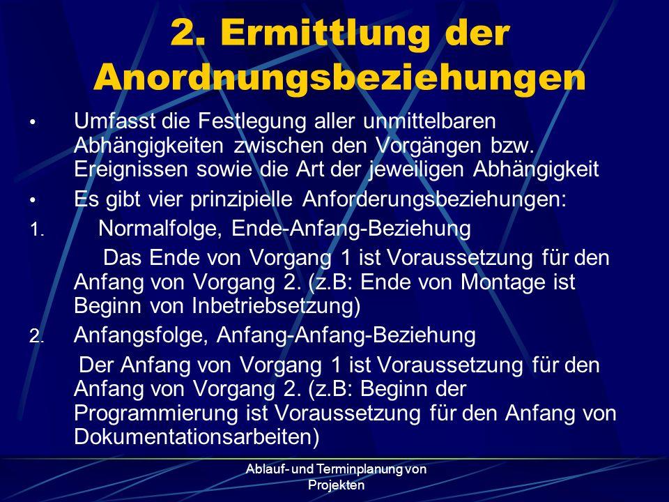 2. Ermittlung der Anordnungsbeziehungen