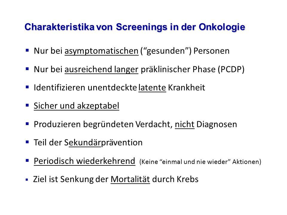 Charakteristika von Screenings in der Onkologie