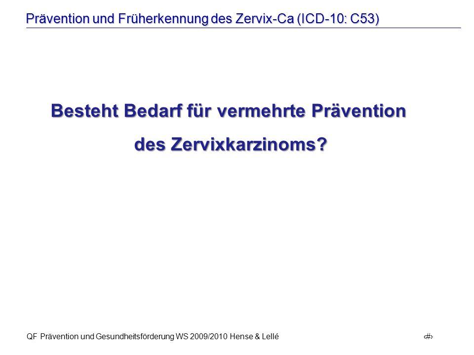 Besteht Bedarf für vermehrte Prävention des Zervixkarzinoms
