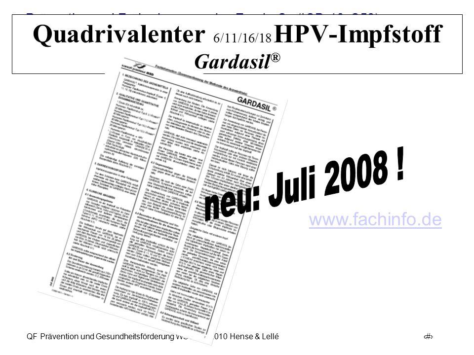Quadrivalenter 6/11/16/18 HPV-Impfstoff Gardasil®