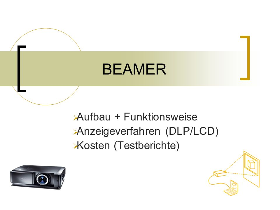 BEAMER Aufbau + Funktionsweise Anzeigeverfahren (DLP/LCD)