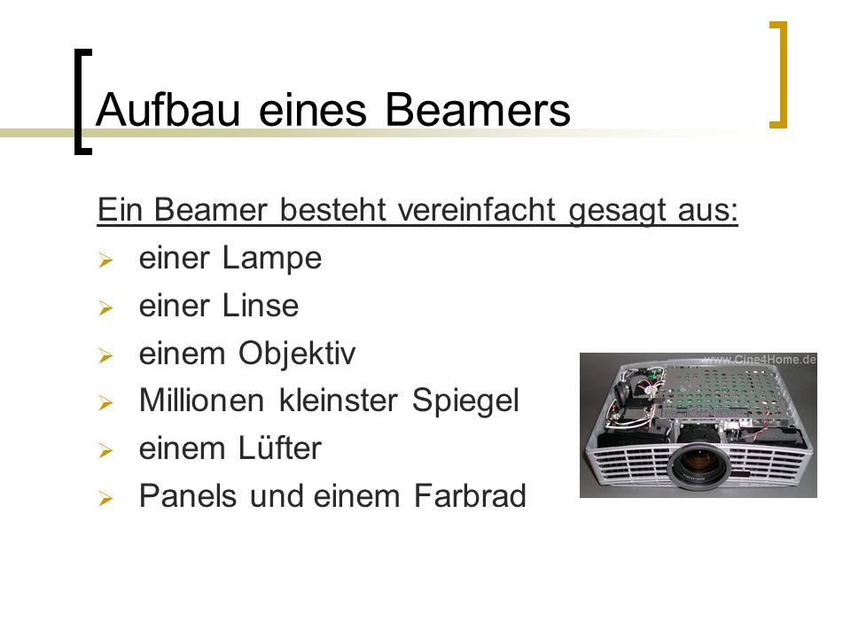 Aufbau eines Beamers Ein Beamer besteht vereinfacht gesagt aus:
