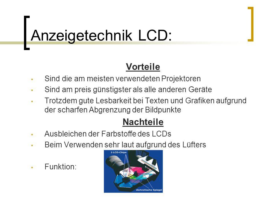 Anzeigetechnik LCD: Vorteile Nachteile